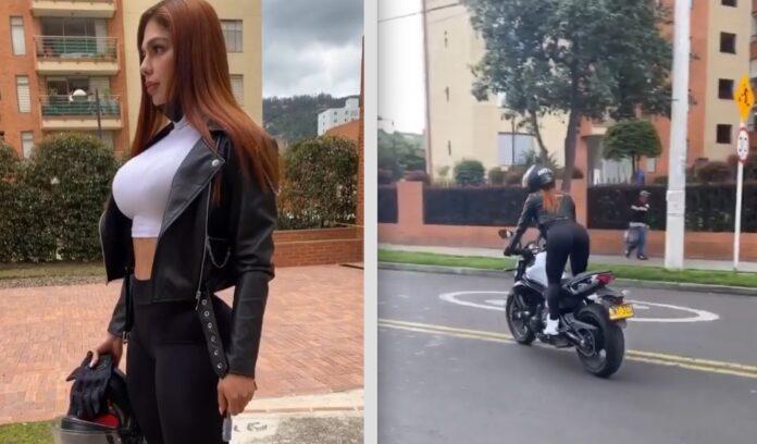 Kvinde på motorcykel